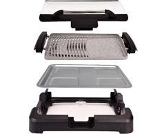 Syntrox Germany TG-2200W elettrico Barbecue da tavolo con Ceramica Piastra griglia Griglia elettrica griglia BBQ Barbecue con coperchio vetro