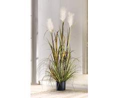 Pianta decorativa artificiale con canne ed erba, in vaso, 120 cm