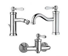 Yellowshop - Set Miscelatori lavabo e bidet con piletta ed esterno doccia Jacuzzi mod. Tosca