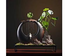 GETSO 110V-220V di Stile Cinese Zen Fontana in Ceramica Feng Shui di Scorrimento dellAcqua Waterscape Rain Curtain Paesaggio della Decorazione Mestieri Bonsai: A