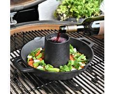 BBQ-Toro - Rostiera per Pollo in ghisa, Ø 28 cm, Ø 7 cm, a Cono per Aroma e Pollo, per Grill e Forno, con Cono Aroma e Vassoio di Raccolta