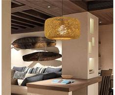 GUANSHAN Lampadario intrecciato a mano in rattan naturale Lampadario a sospensione in stile pastorale naturale per ristorante, bar, camera da letto, ingresso
