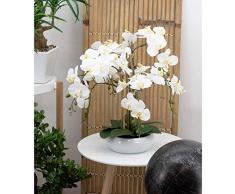 Linea decorativa | Orchidea bianca artificiale | 55 cm | festa della mamma | sensazione reale | 6 rami | taglio ceramica bianca | Composizione fiore artificiale | decorazione per la casa