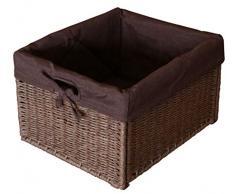 KMH®, pratico cestino contenitore in rattan di Look (marrone con fodera interna) (# 204049)