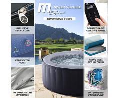 Miweba MSpa idromassaggio Gonfiabile per Esterni - 6 Persone - 132 ugelli - 204 x 70 cm - Testato Tüv GS - Silver Cloud D-SC06 - 930 Litri