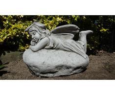 Grande fata su roccia – a mano in pietra ornamento da giardino/statua/scultura