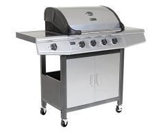 BENTLEY - Barbecue a gas, in acciaio INOX, con 5 fornelli e ruote (4 fornelli + 1 fornello laterale)