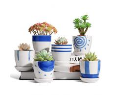 T4U 7CM Vasi per Piantine Set di 6, Vaso in Ceramica per Piante Grasse da Interno, Vasetti Piccolo per Succulenta, Cactus e Erba (Pianta non Inclusa)