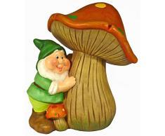 Gnomo da giardino in ceramica in piedi con fungo, oggettistica da regalo, col. verde h.cm.21