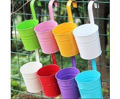 Vasi in metallo da appendere, fioriera da appendere, per piante e fiori, per balconi, recinti, interni, esterni, giardino e casa, set da 8 pezzi