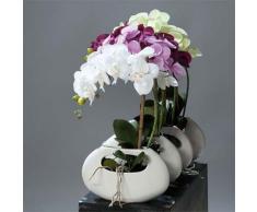 Artificiali - Orchidee artificiale Creme 1 punti fermi Vaso Ceramica Bianco Oval H 43 cm - Scegli il tuo colore: panna