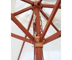 Ombrellone rotondo con manico da esterno in legno beige crema 2.7 m mobili da giardino patio parasole
