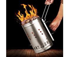INTEY Ciminiera di Accensione - Barbecue Ciminiera Pannello Isolante Impugnatura, Barbecue di Sicurezza, per Balcone, Picnic All'aperto - 28.3 * 30.5 * 19.5cm