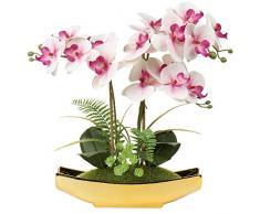 38,1 cm artificiale Phalaenopsis fiori arrangiamento orchidea artificiale bonsai in vaso doro fiori finti orchidea fiore per centrotavola soggiorno decorazione casa