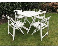 Damiware Set da 5 mobili da giardino Bistro, in faggio, 4 x sedie, 1 x tavolo allungabile, Mobili in legno per giardino, balcone o terrazza