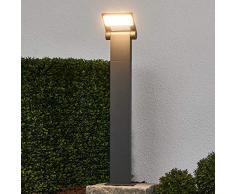 Lampada LED da esterni Marius (Moderno) colore Grigio, in Alluminio (1 luce, A+) di Lucande | lampioncino, paletto luminoso, lampada da viale, lampione