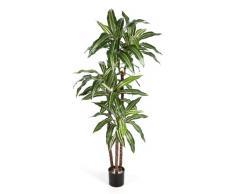 artplants - Arbusto di Dracaena Fragrans Artificiale, in Vaso, 80 Foglie, Verde-Bianco, 120 cm - Pianta Tropicale/Cespuglio Ornamentale