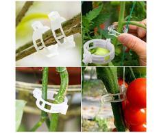 100 clip per piante, clip per piante da giardino, clip di supporto per mensole, clip da appendere, per fissare le piante per collegare le piante, supporto per rampicanti, graticcio, serra e verdure