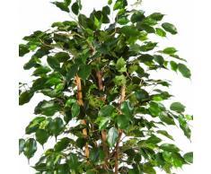 artplants - Ficus Exotica Artificiale, in Vaso, 495 Foglie, Verde, 120 cm - Pianta Tropicale/Pianta da Salotto