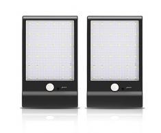 Lampade Solari di 36 LED, Luci Solari da Esterni Impermeabile con Sensore di Movimento, Lampada Wireless 4 Modalità Funzione, Illuminazione Giardino da Esterno, per Parete, Muro, Terrazzino, Cortile