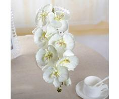 Broadroot DIY Fiore di Seta Artificiale, Farfalla Orchidea Finta Flower for Home Room Decor (Bianco)