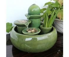 PZON Fontana da Tavolo in Ceramica/Fontana a Cascata Fengshui Smalto Zen Scrivania Decorazione 3 Livelli Piccolo Serbatoio per Pesci per Ufficio Domestico (Color : Green)