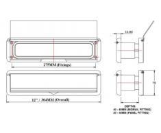 HomesSecure - Buca da lettere per porte in UPVC, larghezza 30,5 cm, fenditura 20-40 mm, colore: Nero