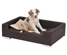 Divano per cani in similpelle con cuscino decorativo, colori assortiti