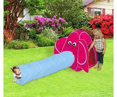 Tenda da gioco elefante 287x122 x94 cm con tunnel pop up per bambini Linea Cigioki. MWS
