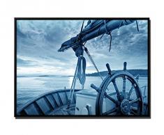 105 x 75 cm quadro - colore blu petrol - su Tela inkusive ombra fughe telaio Nero - Alba classico da parete barca a vela
