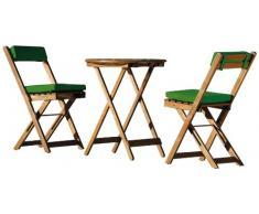 Unbekannt Stern 626750 Set da balcone Pablo 3 pezzi, 2 Sedie Pieghevoli, 1 tavolo pieghevole, ø 60 cm, con 2 Cuscini Set di 2 pezzi, rivestimento in poliestere, colore: verde scuro