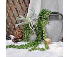 Justoyou - Pianta grassa artificiale, colore verde, larghezza 30 cm, sembra vera al tatto, per ambienti interni ed esterni, ideale per decorare il giardino o il bagno Pearls