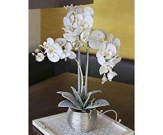 artplants.de Orchidea phalaenopsis Artificiale Karen, Vaso Decorativo, ghiacciato, Bianco, 60cm - Fiore Finto - Orchidea di plastica