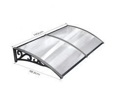 MVPOWER Pensilina Tettoia per Porta Balcone Esterno Tenda da Veranda Pensilina Alveolare in Policarbonato (190*98.5cm, Nero)