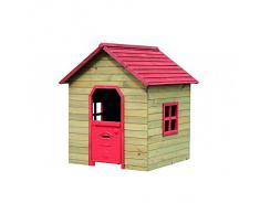 Casetta casa in legno rossa bambini H140P125L120 giardino esterno gioco C1527025