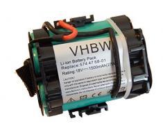 vhbw Li-Ioni Batterie 1500mAh (18V) per robot tagliaerba Gardena R70 Li, R70Li come 574 47 68-01, 505 69 73-20.