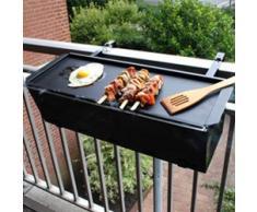 appetitissime BBQ Quick Barbecue a carbonella per balcone, Acciaio Inox, Nero, 57 cm