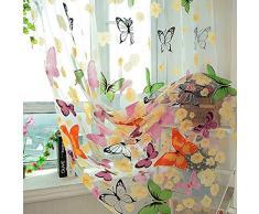 Zzm Tenda di Voile per Finestre Decorate con Farfalle, Lavata, Bellissima, Drappeggi per Decorare la Camera dei Bambini, il Balcone e la Cucina, 1 Pezzo, 1,4M×2M