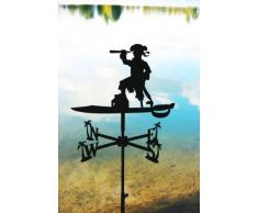 SvenskaV - Banderuola segnavento, in acciaio, motivo: pirata, dimensioni: circa 74 x 44 cm