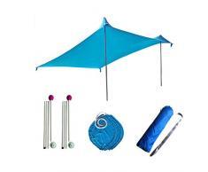 Tende da sole Tende parasole leggere Tessuti Premium in lycra Ampie tasche portatili, sandbag 4 chiodi gratuiti UPF50 UV Tenda da sole portatile per spiagge Parchi e tende da sole per esterni