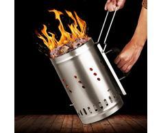 INTEY Ciminiera di Accensione - Barbecue Ciminiera Pannello Isolante Impugnatura, Barbecue di Sicurezza, per Balcone, Picnic All'aperto
