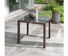 greemotion Tavolo da giardino in rattan Milano - Tavolo da esterno quadrato con piano in vetro - Tavolino da balcone con piedini regolabili, 80x80x74cm