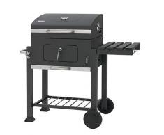 Tepro - Griglia/Barbecue Modello Toronto 1061, Trasportabile con 2 ruote, Piano di appoggio laterale, Temperatura regolabile, In acciaio inox, Nero e cromo