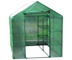 Serra casetta 6 ripiani acciaio H195xL143xP143cm telo PE piante giardino 647/24
