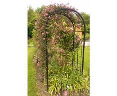 Arco Princess arco a fiori rose Tutore piante di giardino passaggio in ferro battuto Marrone martellato o Nero 61 x 124 x 229 cm – Nero