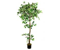 Fico Ficus Benjamin Pianta Albero Artificiale Plastica Bianco con Legno Naturale 160cm Decovego
