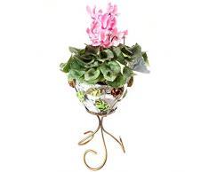 Portavaso in ferro battuto arredo casa ingresso giardino rose e foglie 40 cm