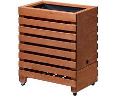 dobar rollbares – Aiuola rialzata in legno (pino, Marrone), con base, – Serra Kit di montaggio per verdura, erbe in giardino e balcone