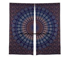 Tendine pavone Mandala indiano drappo tenda Decor boho balcone camera set etnico finestra trattamenti e pannelli set