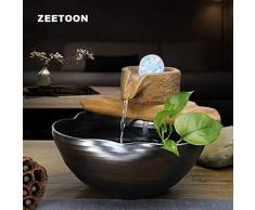 HONIC 110V-220V Feng Shui Fontana di Acqua in Ceramica Decor Desktop Waterscape Flower Pot dei Bonsai Fish Tank Sfera di Cristallo umidificatore Crafts: A